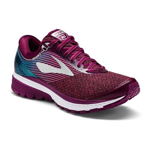 Womens Brooks Ghost 10 Running Shoe - Maroon/Teal 6