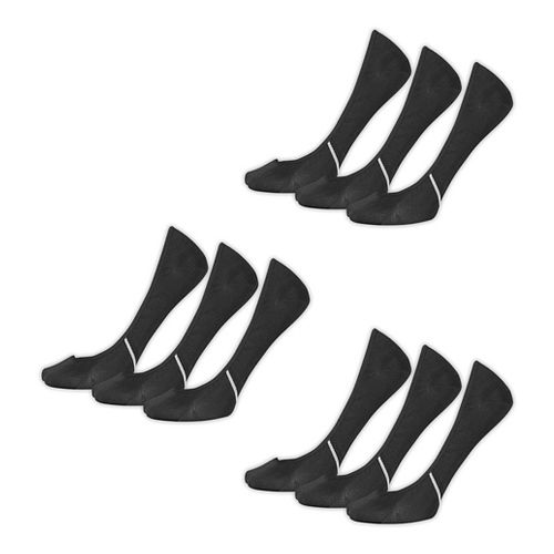 Womens New Balance Lifestyle No Show Liner 9 Pack Socks - Black L