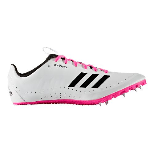 Womens adidas Sprintstar Track and Field Shoe - White/Black/Pink 7
