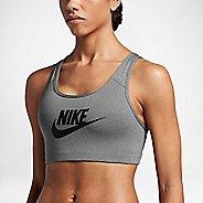Womens Nike Pro Classic Swoosh Futura Sports Bra - Carbon Heather L