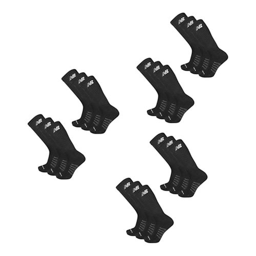 Mens New Balance Core Cotton Crew 18 Pack Socks - Black L