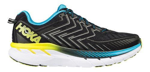 Mens Hoka One One Clifton 4 Running Shoe - Black/Blue/Yellow 14