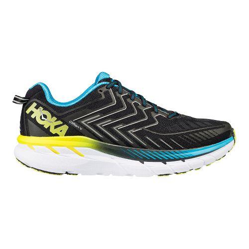 Mens Hoka One One Clifton 4 Running Shoe - Black/Blue/Yellow 11.5