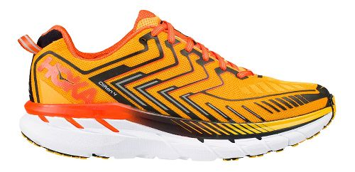 Mens Hoka One One Clifton 4 Running Shoe - Orange/Black 12