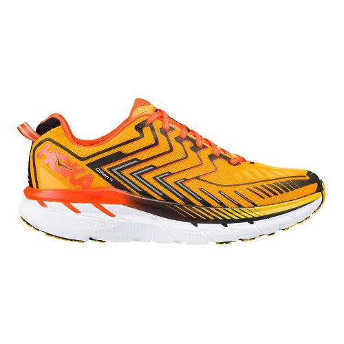 Mens Hoka One One Clifton 4 Running Shoe - Orange/Black 14