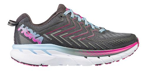 Womens Hoka One One Clifton 4 Running Shoe - Grey/Pink 6.5