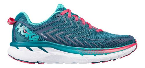Womens Hoka One One Clifton 4 Running Shoe - Turquoise/Pink 7