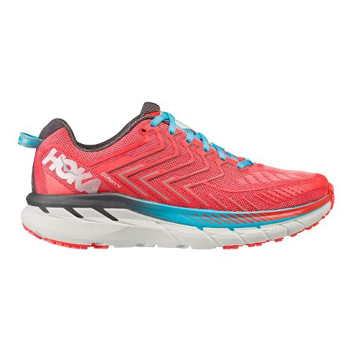 Womens Hoka One One Clifton 4 Running Shoe - Coral/Blue 9.5
