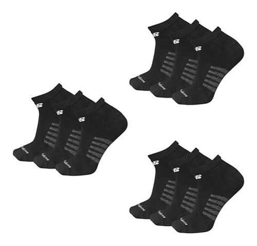Mens New Balance Core Cotton Low Cut 9 Pack Socks - Black L
