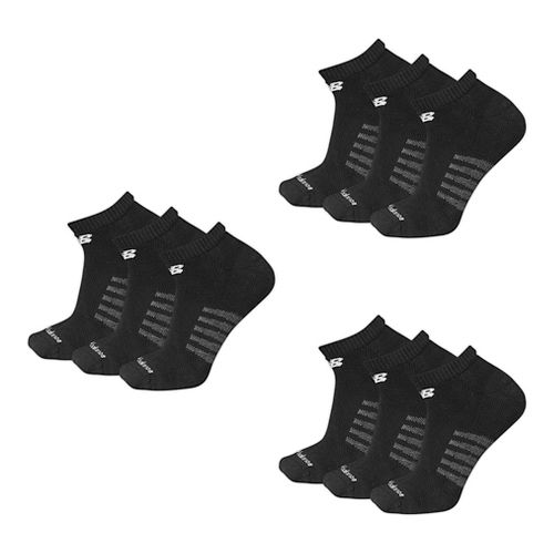 Mens New Balance Core Cotton Low Cut 9 Pack Socks - Black L