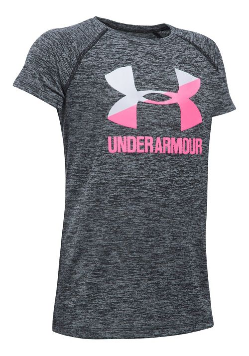 Under Armour Girls Novelty Big LogoTee Short Sleeve Technical Tops - Black/White YL