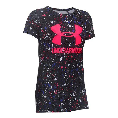 Under Armour Girls Novelty Big LogoTee Short Sleeve Technical Tops - Black/Penta Pink YL