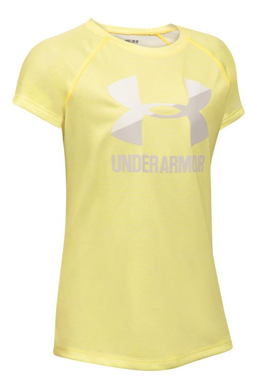 Under Armour Girls Novelty Big LogoTee Short Sleeve Technical Tops - Tokyo Lemon/White YL