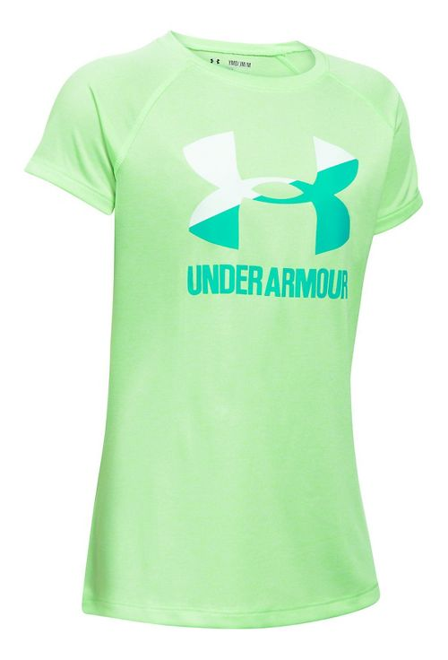 Under Armour Girls Novelty Big LogoTee Short Sleeve Technical Tops - Black/Penta Pink YM