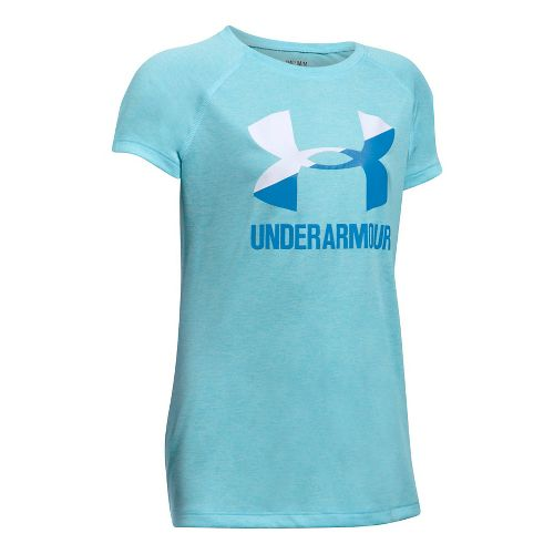 Under Armour Girls Novelty Big LogoTee Short Sleeve Technical Tops - Opal Blue/White YS