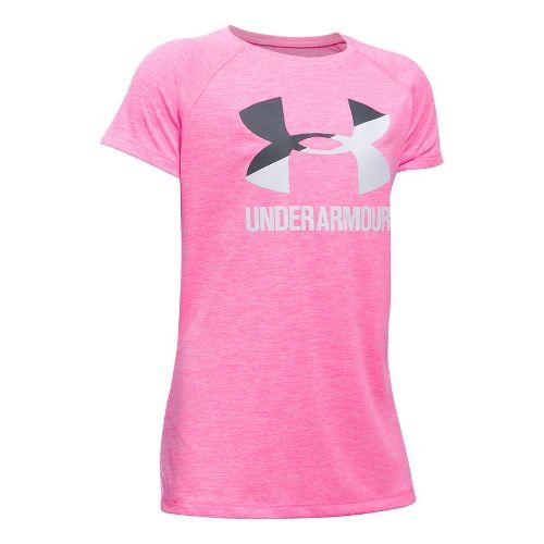 Under Armour Girls Novelty Big LogoTee Short Sleeve Technical Tops - Pink Punk/Grey YL