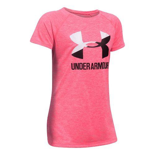 Under Armour Girls Novelty Big LogoTee Short Sleeve Technical Tops - Penta Pink YXL