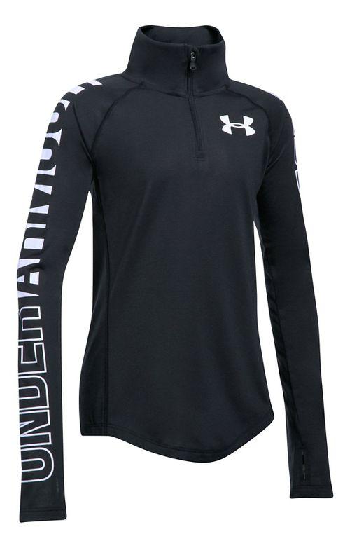 Under Armour Girls Threadborne 1/4 Zip Half-Zips & Hoodies Technical Tops - Black/White YM