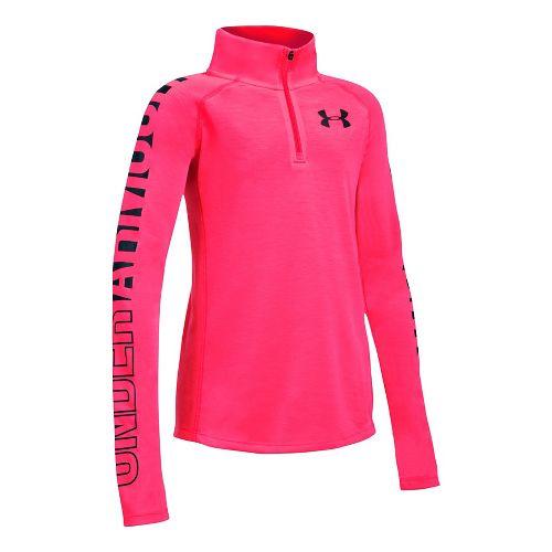 Under Armour Girls Threadborne 1/4 Zip Half-Zips & Hoodies Technical Tops - Penta Pink/Black YL ...