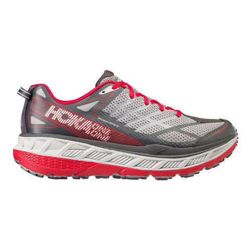 Mens Hoka One One Stinson ATR 4 Trail Running Shoe - Grey/Red 8.5