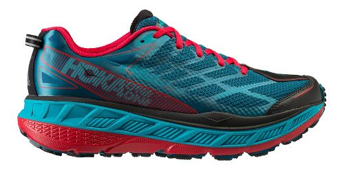 Mens Hoka One One Stinson ATR 4 Trail Running Shoe - Blue/Red 11.5