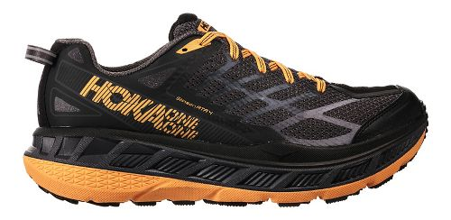 Mens Hoka One One Stinson ATR 4 Trail Running Shoe - Black/Kumquat 8