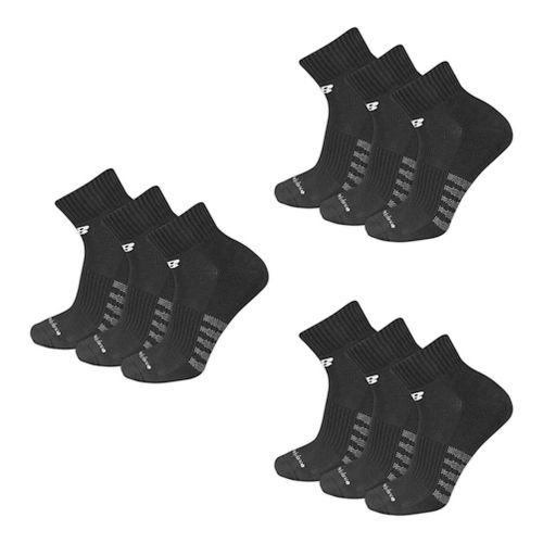 Mens New BalanceCore Cotton Quarter 9 Pack Socks - Black L