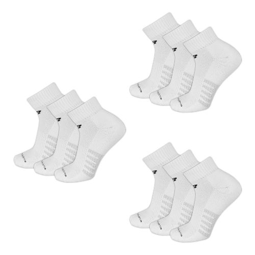 Mens New BalanceCore Cotton Quarter 9 Pack Socks - White M