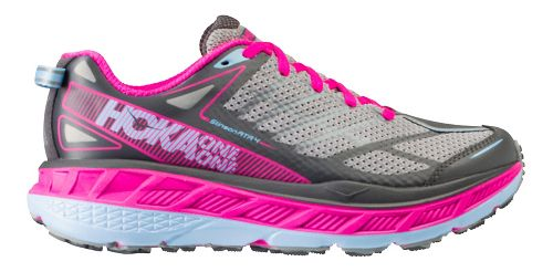Womens Hoka One One Stinson ATR 4 Trail Running Shoe - Grey/Pink 7.5