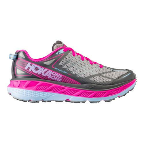 Womens Hoka One One Stinson ATR 4 Trail Running Shoe - Grey/Pink 10.5