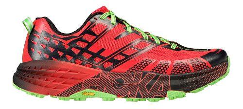 Mens Hoka One One Speedgoat 2 Trail Running Shoe - Red/Green 11.5