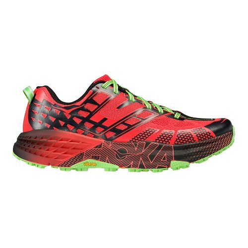 Mens Hoka One One Speedgoat 2 Trail Running Shoe - Red/Green 10.5