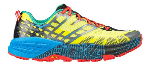 Mens Hoka One One Speedgoat 2 Trail Running Shoe - Yellow/Blue 10.5