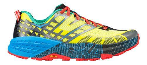 Mens Hoka One One Speedgoat 2 Trail Running Shoe - Yellow/Blue 8