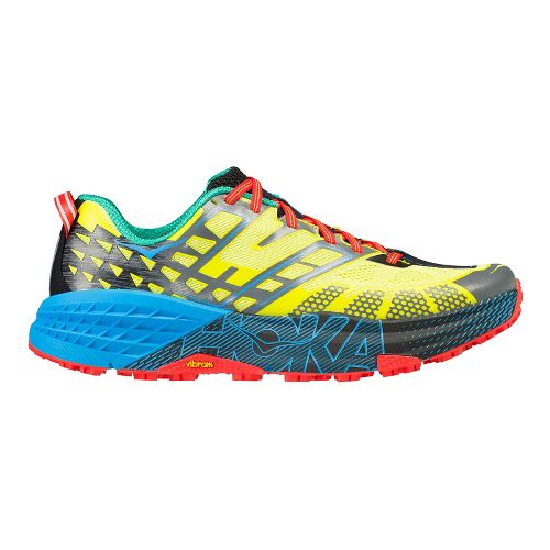 Mens Hoka One One Speedgoat 2 Trail Running Shoe - Yellow/Blue 11
