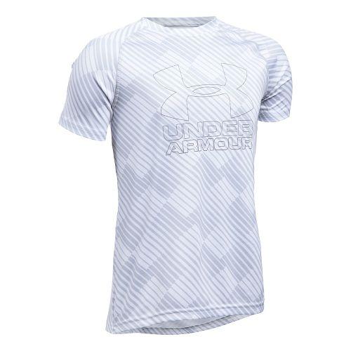 Under Armour Boys Big Logo Hybrid 2.0 Printed T Short Sleeve Technical Tops - White/Graphite YS