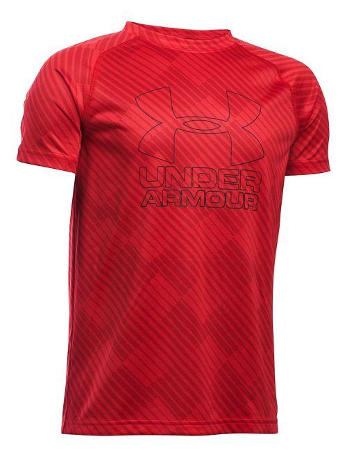 Under Armour Boys Big Logo Hybrid 2.0 Printed T Short Sleeve Technical Tops - Red/Black YM