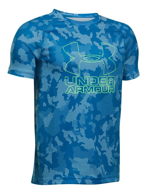 Under Armour Boys Big Logo Hybrid 2.0 Printed T Short Sleeve Technical Tops - Blue/Quirky Lime YXS