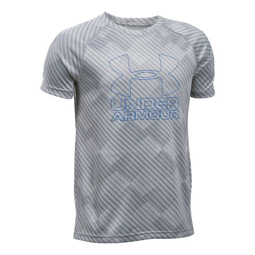 Under Armour Boys Big Logo Hybrid 2.0 Printed T Short Sleeve Technical Tops - Overcast ...