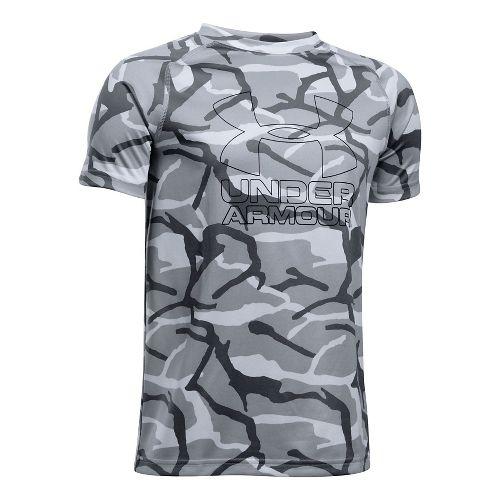 Under Armour Boys Big Logo Hybrid 2.0 Printed T Short Sleeve Technical Tops - Overcast ...