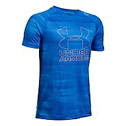 Under Armour Boys Big Logo Hybrid 2.0 Printed T Short Sleeve Technical Tops - Mako Blue/Orange YXS