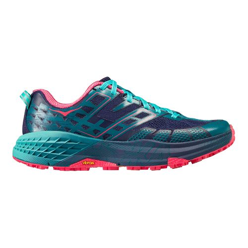 Womens Hoka One One Speedgoat 2 Trail Running Shoe - Navy/Turquoise 7.5
