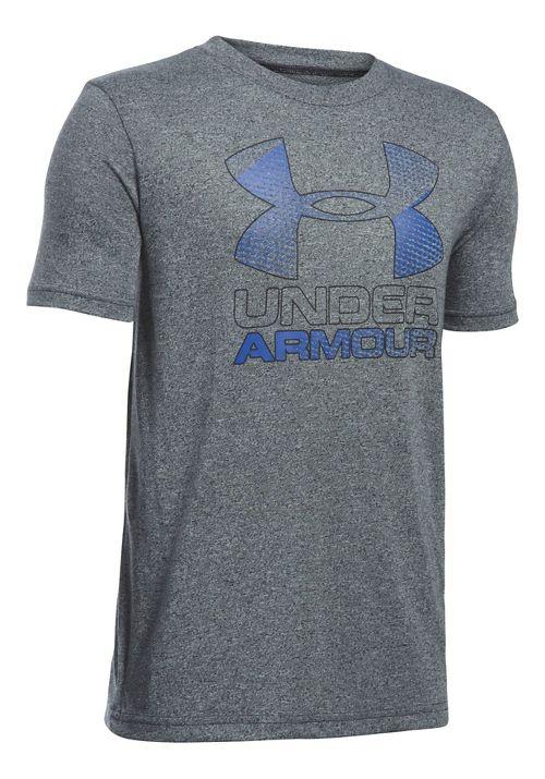 Under Armour Boys Big Logo Hybrid 2.0 Tee Short Sleeve Technical Tops - Black/Ultra Blue YL