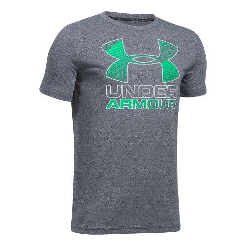 Under Armour Boys Big Logo Hybrid 2.0 Tee Short Sleeve Technical Tops - Black/Vapor Green ...