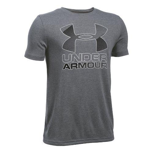 Under Armour Boys Big Logo Hybrid 2.0 Tee Short Sleeve Technical Tops - Graphite/White/Black YXL