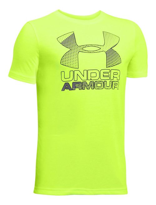 Under Armour Boys Big Logo Hybrid 2.0 Tee Short Sleeve Technical Tops - Fuel Green/Graphite YM