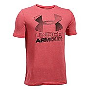 Under Armour Boys Big Logo Hybrid 2.0 Tee Short Sleeve Technical Tops - Red/Black YM