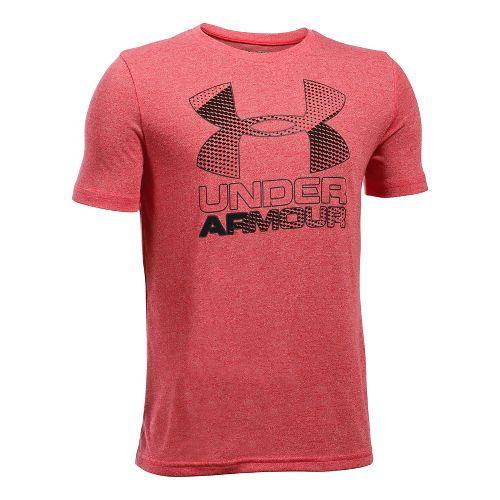 Under Armour Boys Big Logo Hybrid 2.0 Tee Short Sleeve Technical Tops - Red/Black YXS ...