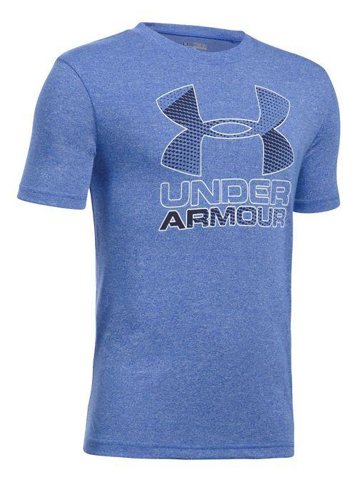 Under Armour Boys Big Logo Hybrid 2.0 Tee Short Sleeve Technical Tops - Ultra Blue/White YXS