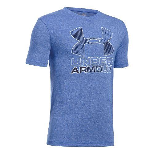 Under Armour Boys Big Logo Hybrid 2.0 Tee Short Sleeve Technical Tops - Ultra Blue/White ...